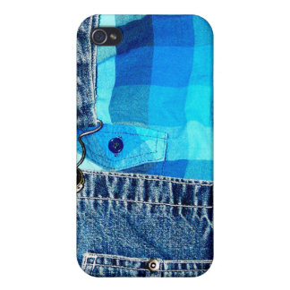 Denim Overalls and Plaid Cover For iPhone 4