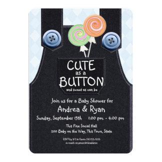 Denim Overalls Cute as a Button 5x7 Paper Invitation Card