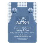 cute as button, denim, overalls, baby shower, blue