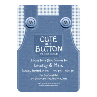 Denim Overalls Cute as a Button Blue Card