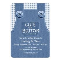 Denim Overalls Cute as a Button Blue Invitation