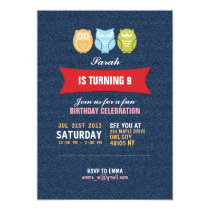 Denim Owl Cartoon Birthday Invitation for Kids