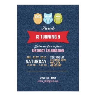 Denim Owl Cartoon Birthday Invitation for Kids