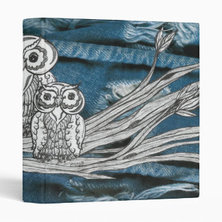 Denim Owls 3 Ring Binder