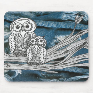 Denim Owls Mouse Pad