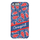 Denim Paisley Cute Floral Red White and Blue Jeans Barely There iPhone 6 Case