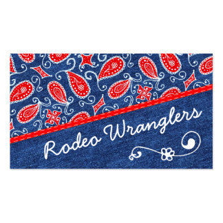 Denim Paisley Cute Floral Red White and Blue Jeans Business Card