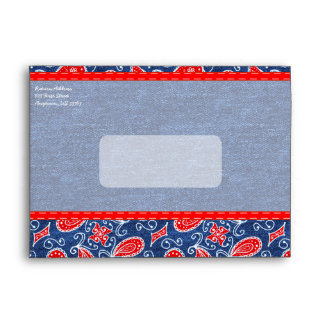 Denim Paisley Cute Floral Red White and Blue Jeans Envelopes