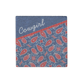 Denim Paisley Cute Floral Red White and Blue Jeans Stone Magnet