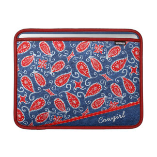 Denim Paisley Cute Floral Red White and Blue Jeans MacBook Air Sleeve