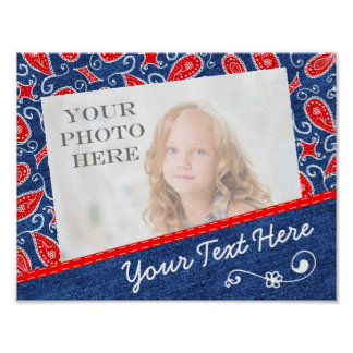 Denim Paisley Cute Floral Red White and Blue Jeans Poster