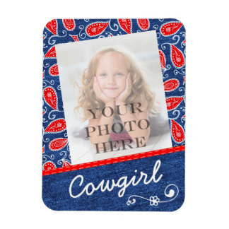 Denim Paisley Cute Floral Red White and Blue Jeans Rectangular Photo Magnet