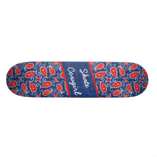 Denim Paisley Cute Floral Red White and Blue Jeans Skateboard