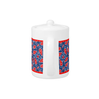 Denim Paisley Cute Floral Red White and Blue Jeans Teapot