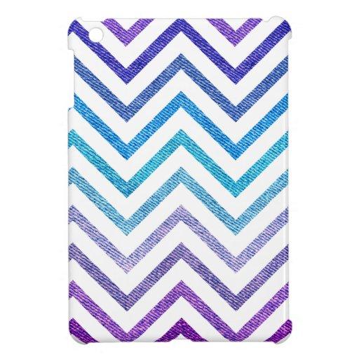 Denim Pastel Chevron White iPad Mini Covers