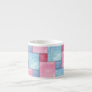 Denim Patchwork Espresso Mug, Pinks, Blues