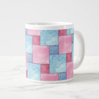 Denim Patchwork Jumbo Mug, Pinks, Blues