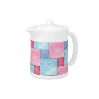 Denim Patchwork Tea Pot, Pinks, Blues Teapot
