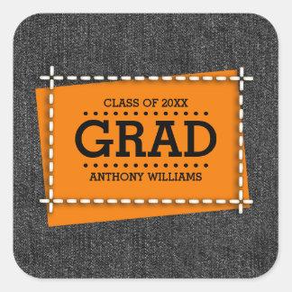 Denim Pattern Design Custom Graduation Stickers
