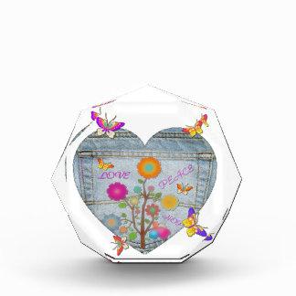 Denim Pocket Heart Flowers Butterflies Acrylic Award