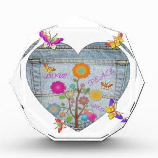 Denim Pocket Heart Flowers Butterflies Award