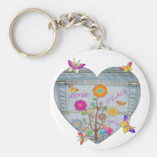 Denim Pocket Heart Flowers Butterflies Keychain