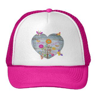 Denim Pocket Heart Flowers Butterflies Trucker Hat