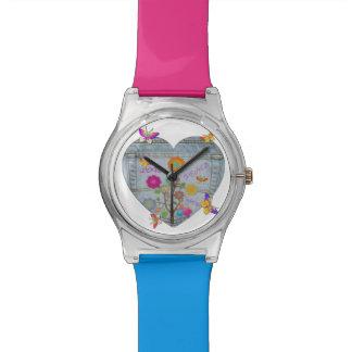Denim Pocket Heart Flowers Butterflies Wristwatches