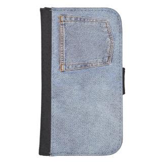Denim pocket photo wallet phone case for samsung galaxy s4