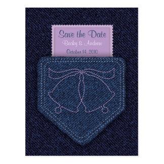 Denim Pocket - Save the Date Post Cards