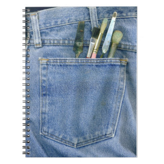 Denim Pocket with Brushes Spiral Note Book