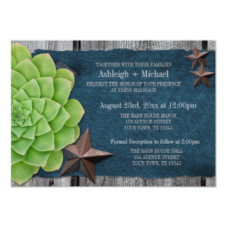 Denim & Rustic Stars Country Western Wedding Personalized Announcement