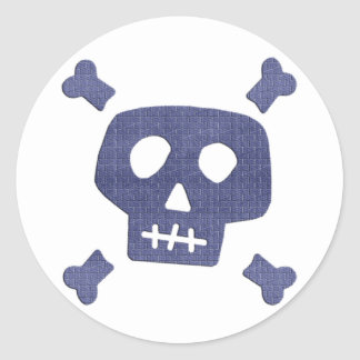 Denim Skull Classic Round Sticker