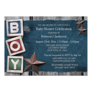 Denim, Stars, & Blocks Country Boy Baby Shower Card