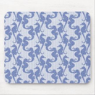 Denim Stripe Seashorses Mouse Pad