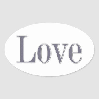 Denim style love oval sticker