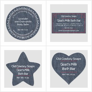 Denim Style Soap and Cosmetic Product Labels