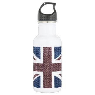 Denim Texture Pattern Union Jack British(UK) Flag Stainless Steel Water Bottle