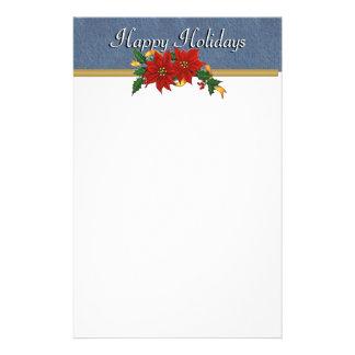 Denim Trim Happy Holidays Stationary Personalized Stationery