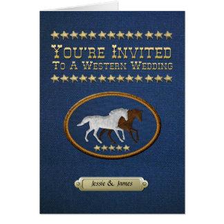 Denim Western Wedding Invitation Greeting Card