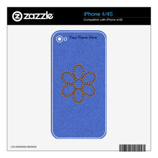 Denim with Gold Studs Cell Phone Skin Decals For iPhone 4