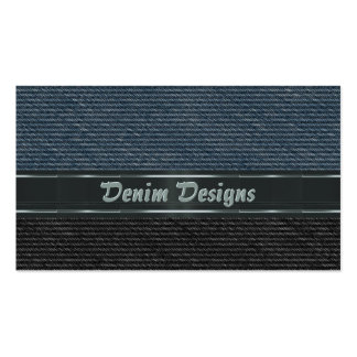 Denim with metal effect stripes business card