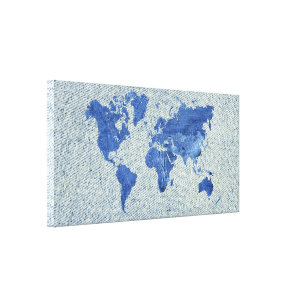 Modern world map wrapped canvas prints zazzle denim world map canvas print gumiabroncs Image collections