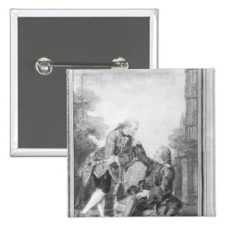 Denis Diderot and Melchior, baron de Grimm 2 Inch Square Button