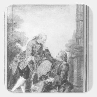 Denis Diderot y Melchior, barón de Grimm Pegatina Cuadrada