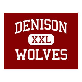 Denison - lobos - centro - el lago Lemán Wisconsin Tarjeta Postal