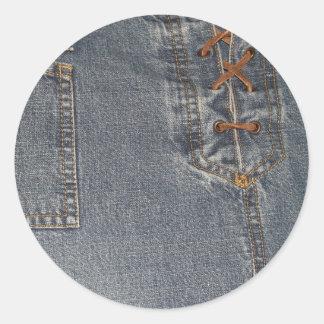 Denium Fabric BackgroundRound Sticker