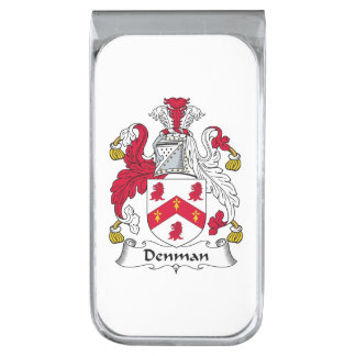 Denman Family Crest Silver Finish Money Clip