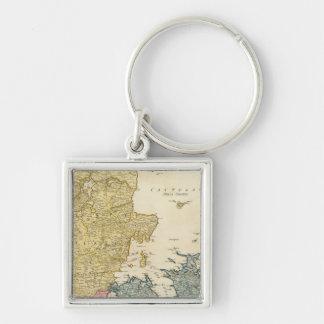 Denmark Atlas Map Keychain