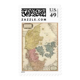 Denmark Atlas Map Postage Stamps